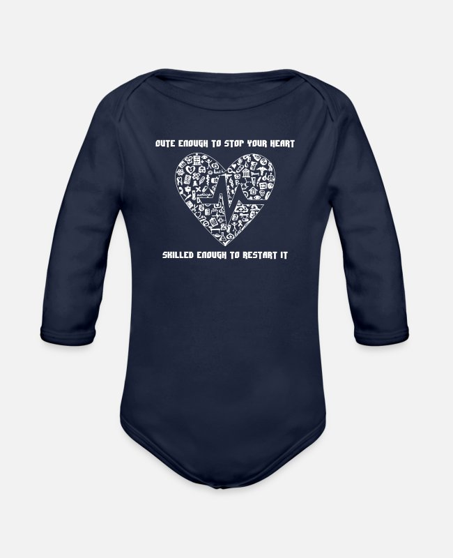 Enough Baby One Pieces - Cut Enough to stop your heart - Organic Long-Sleeved Baby Bodysuit dark navy