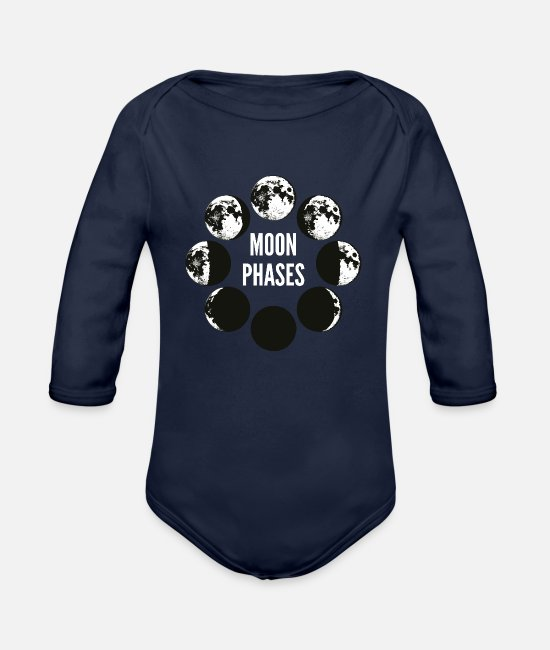 Full Moon Baby One Pieces - Moon Phases Celestial Moon Luna Gazing Gift - Organic Long-Sleeved Baby Bodysuit dark navy