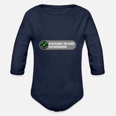 Dada Achievement Unlocked Fatherhood Father's Day Gift - Organic Long-Sleeved Baby Bodysuit