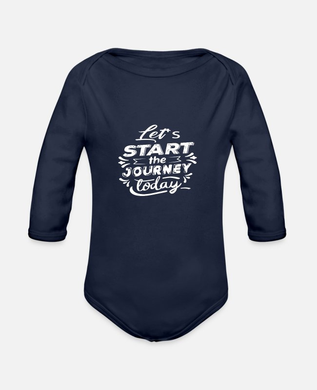 Let's Start The Baby One Pieces - Let's start the journey today - Organic Long-Sleeved Baby Bodysuit dark navy