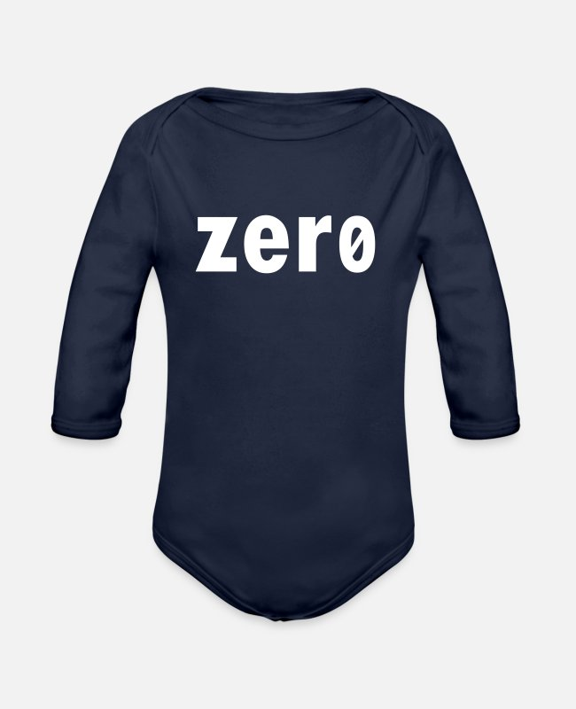 Weak Baby One Pieces - zero null nobody - Organic Long-Sleeved Baby Bodysuit dark navy