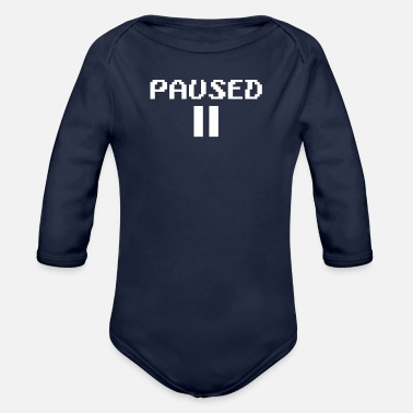 Pause paused - Organic Long-Sleeved Baby Bodysuit