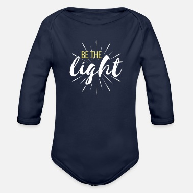 Designs Be The Light White Yellow Christian Design - Organic Long-Sleeved Baby Bodysuit