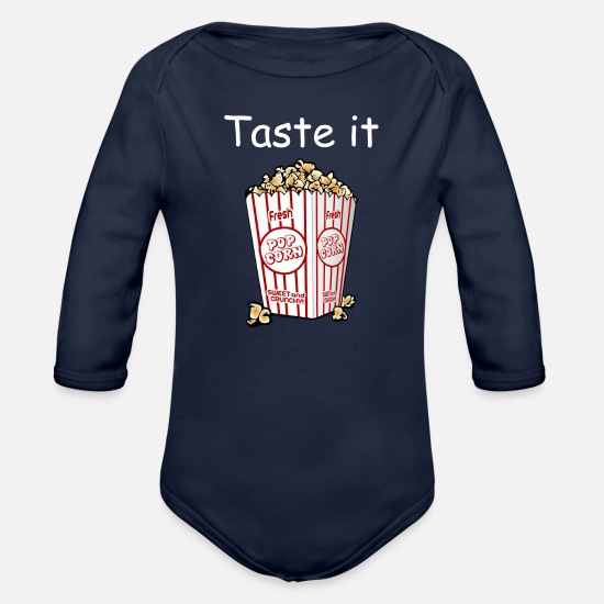 Popcorn Baby Clothing - Taste it Popcorn - Organic Long-Sleeved Baby Bodysuit dark navy