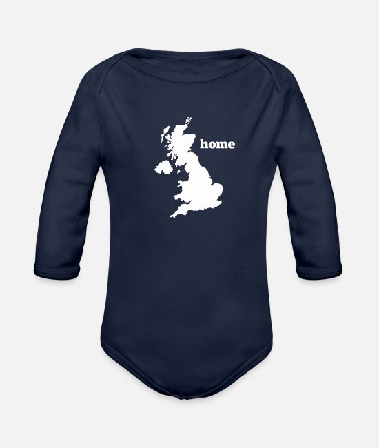 Nottingham Baby One Pieces - Uk Home - Organic Long-Sleeved Baby Bodysuit dark navy