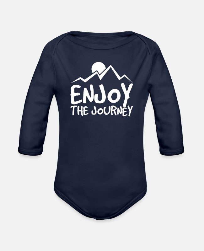 Backpack Baby One Pieces - Enjoy the journey - Organic Long-Sleeved Baby Bodysuit dark navy