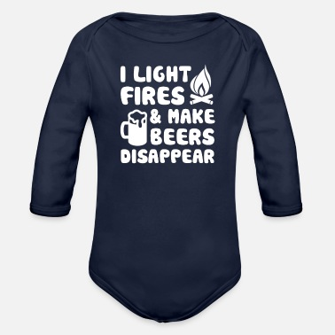 Camping Lover Light Fires Make Beer Disappear - Organic Long-Sleeved Baby Bodysuit