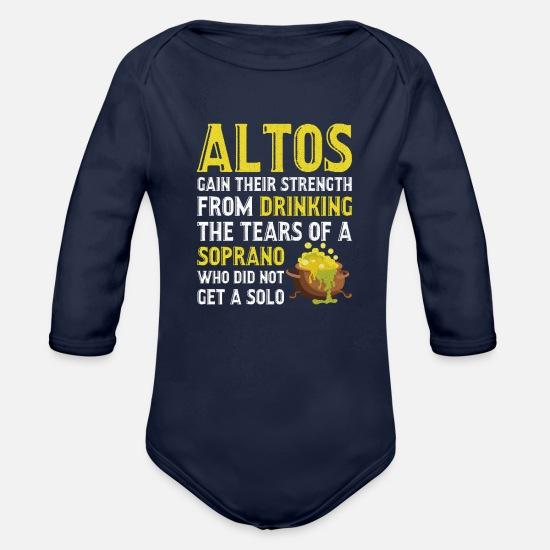 Voice Baby Clothing - Alto Singer Tears of Soprano Singer Music Musician - Organic Long-Sleeved Baby Bodysuit dark navy
