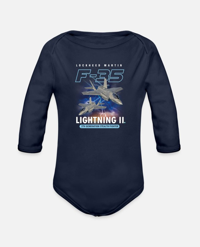 Pilot Baby One Pieces - Lockheed Martin F-35A Lightning II Pilot Gift - Organic Long-Sleeved Baby Bodysuit dark navy
