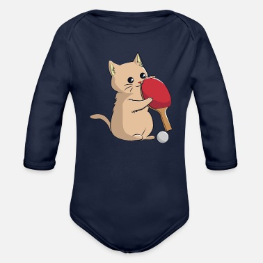 Cat A Table Cat plays table tennis - Organic Long-Sleeved Baby Bodysuit