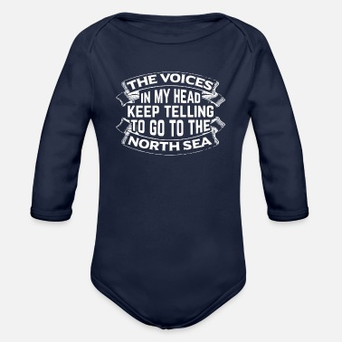 North Sea Funny Travel Vacation Beach Holiday North Sea Gift - Organic Long-Sleeved Baby Bodysuit
