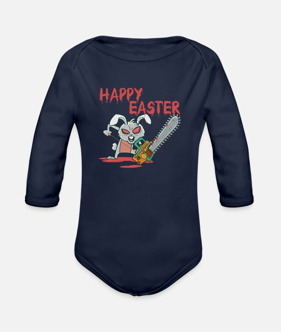 Easter Baby One Pieces - Horror Bunny - Organic Long-Sleeved Baby Bodysuit dark navy