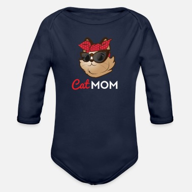 Cat Mom Cat Mom - Cat Mom Shirt - Gifts for Cat Mom - Organic Long-Sleeved Baby Bodysuit