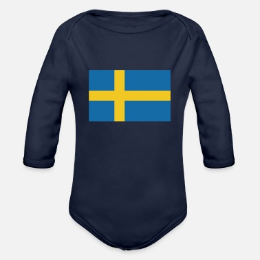 Sweden Flag of Sweden, flag Sweden, Sweden flag - Organic Long-Sleeved Baby Bodysuit