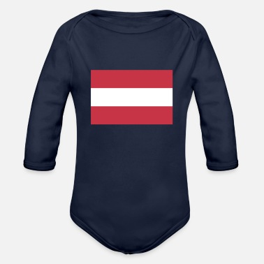 Austria Flag of Austria, Austrias flag, Austria flag - Organic Long-Sleeved Baby Bodysuit