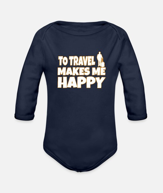 Travel Bug Baby One Pieces - Travel - Organic Long-Sleeved Baby Bodysuit dark navy
