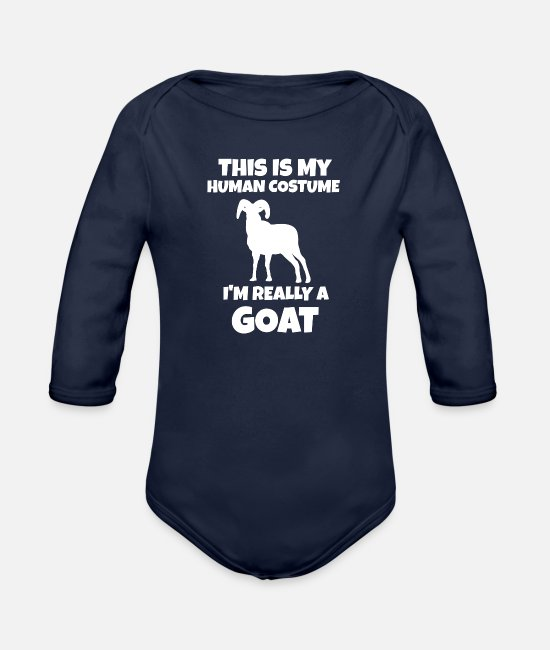 Goats Baby One Pieces - Goat - Organic Long-Sleeved Baby Bodysuit dark navy