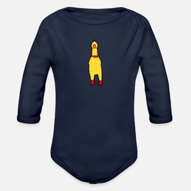 Funny rubberchicken, crazy nerd design - Organic Long-Sleeved Baby Bodysuit