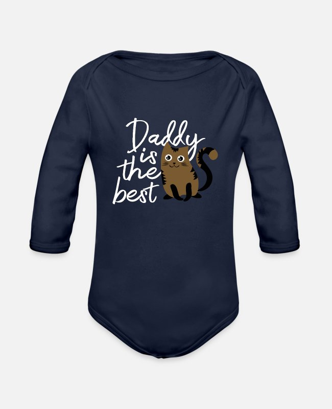 Father's Day Baby One Pieces - Daddy is The Best Cat - Organic Long-Sleeved Baby Bodysuit dark navy