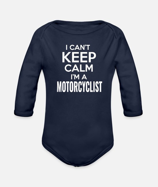 Motorcycle Baby One Pieces - Motorcycle - Organic Long-Sleeved Baby Bodysuit dark navy