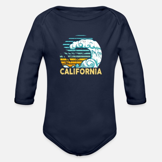 California Baby Clothing - CALIFORNIA - Organic Long-Sleeved Baby Bodysuit dark navy