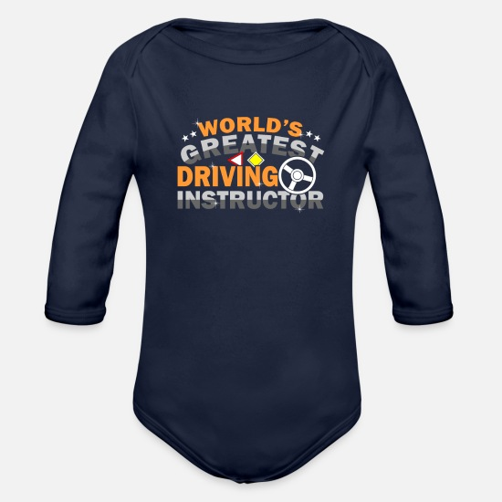Gift Idea Baby Clothing - Driving Instructor - Organic Long-Sleeved Baby Bodysuit dark navy