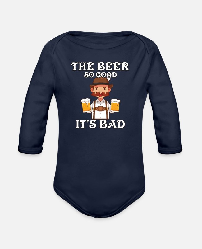 Munich Baby One Pieces - the beer so good it´s bad - Organic Long-Sleeved Baby Bodysuit dark navy