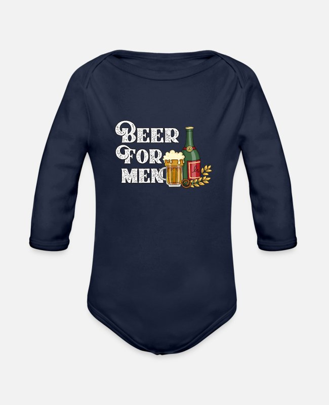 Munich Baby One Pieces - beer for men - Organic Long-Sleeved Baby Bodysuit dark navy