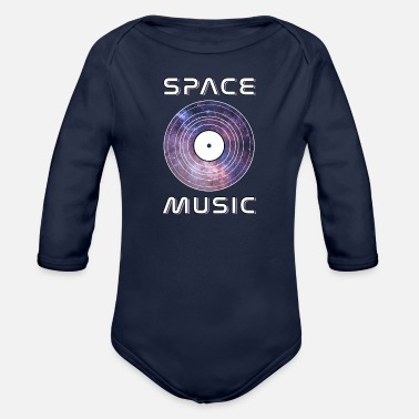 Music Galaxy Space Music, Vinyl Record Galaxy Cosmos - Organic Long-Sleeved Baby Bodysuit
