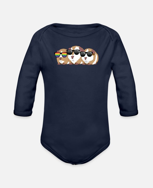 Pigs Baby One Pieces - guinea pig - Organic Long-Sleeved Baby Bodysuit dark navy