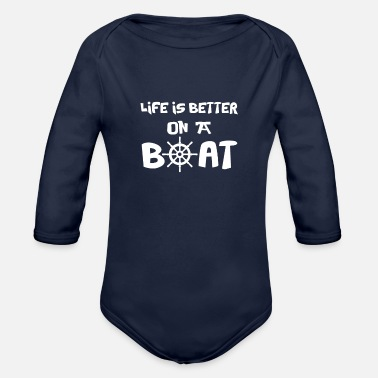 Boat sailing gift sail gift idea funny sea ocean gift - Organic Long-Sleeved Baby Bodysuit