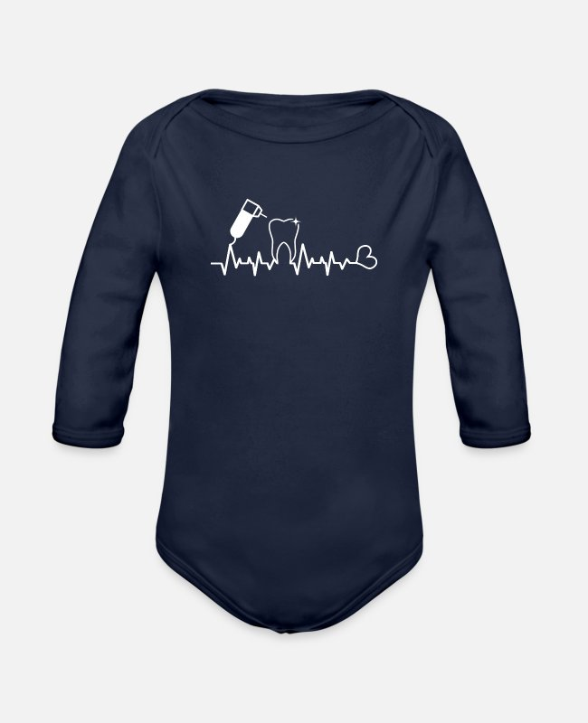 Dental Assistant Baby One Pieces - dental assistant - Organic Long-Sleeved Baby Bodysuit dark navy