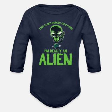 Jack-o-lantern My Human Costume Really An Alien Halloween Gift - Organic Long-Sleeved Baby Bodysuit