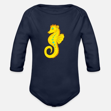 Criaturas Sea Horse - Organic Long-Sleeved Baby Bodysuit