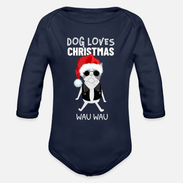 Happy New Year DOG Christmas Santa Claus Geschenkidee Happy - Organic Long-Sleeved Baby Bodysuit