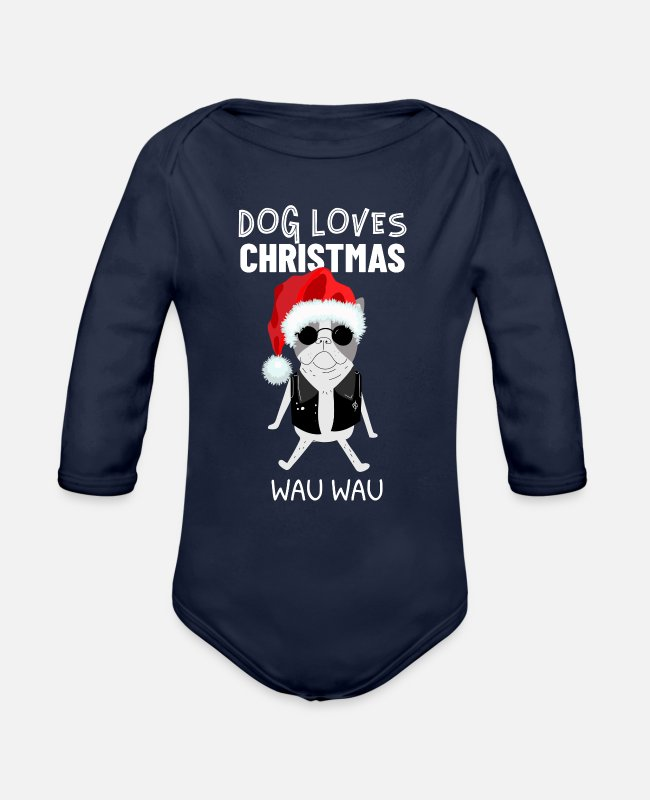 Happy Holidays Baby One Pieces - DOG Christmas Santa Claus Geschenkidee Happy - Organic Long-Sleeved Baby Bodysuit dark navy