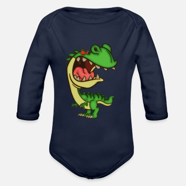 Angry Little Dino annoys - Organic Long-Sleeved Baby Bodysuit