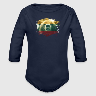 Lithuania Flag & Bear - Lithuanian Pride Design - Organic Long Sleeve Baby Bodysuit