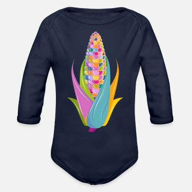 Jewelry colorful hand drawn corn on the cob - Organic Long-Sleeved Baby Bodysuit