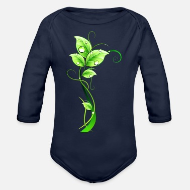 Dew grass leaves dew - Organic Long-Sleeved Baby Bodysuit