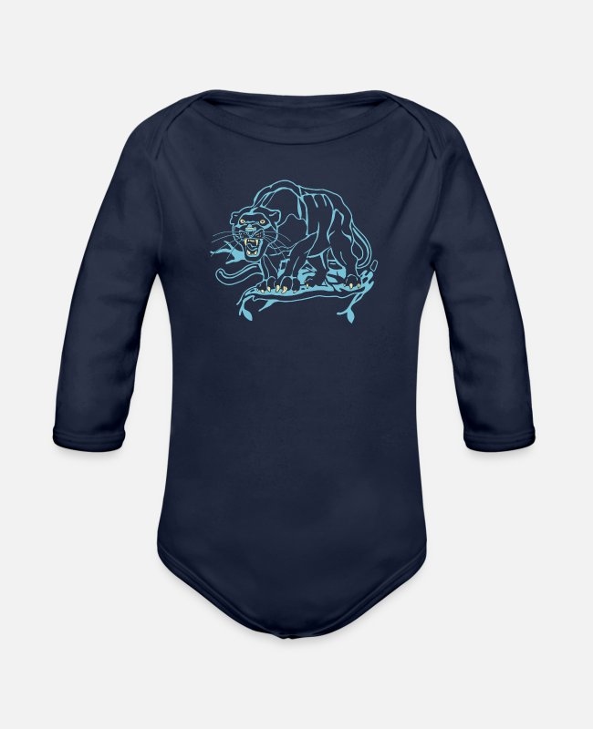 Black Metal Baby One Pieces - Black Panther - Organic Long-Sleeved Baby Bodysuit dark navy