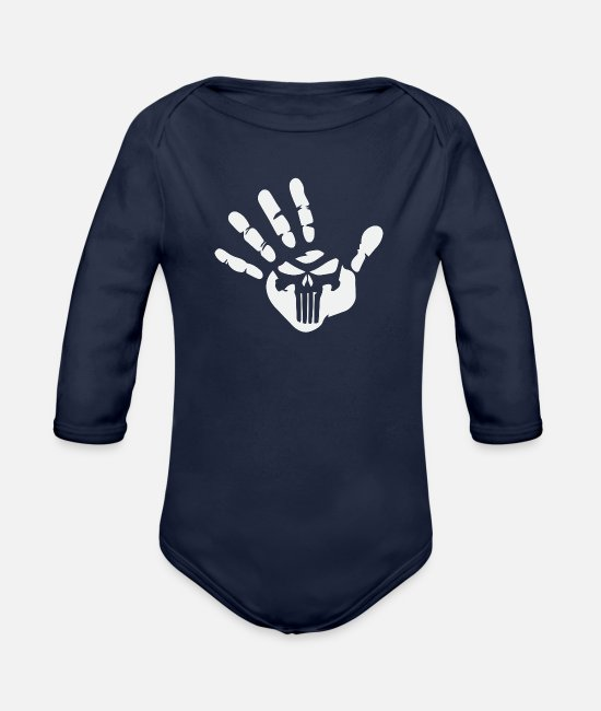Power Ballads Baby One Pieces - Power in Hand - Organic Long-Sleeved Baby Bodysuit dark navy