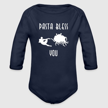 pasta bless you white - Organic Long Sleeve Baby Bodysuit