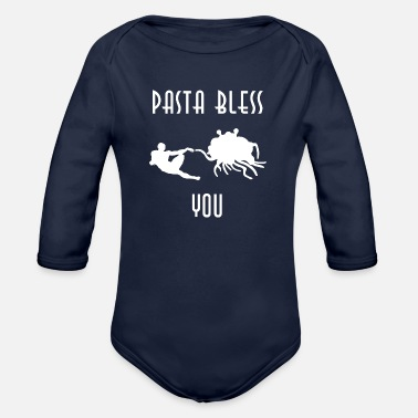 Bless You pasta bless you white - Organic Long Sleeve Baby Bodysuit
