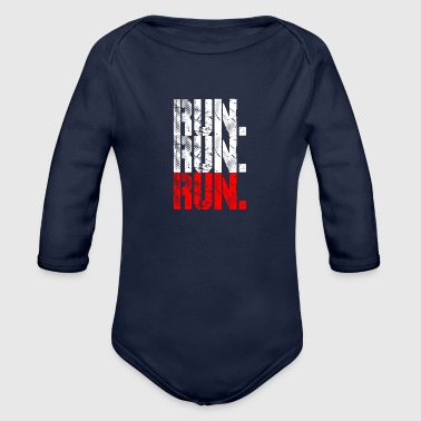 Running run run run - Organic Long Sleeve Baby Bodysuit