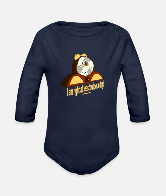 Happiness Baby One Pieces - I Am Right At Least Twice A Day - Organic Long-Sleeved Baby Bodysuit dark navy