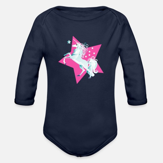 Unicorns Baby Clothing - Unicorn - Organic Long-Sleeved Baby Bodysuit dark navy