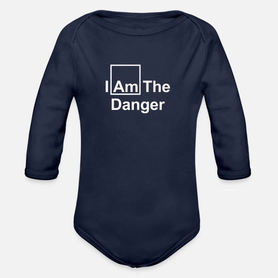 Typography Baby Clothing - IAM DANGER - Organic Long-Sleeved Baby Bodysuit dark navy
