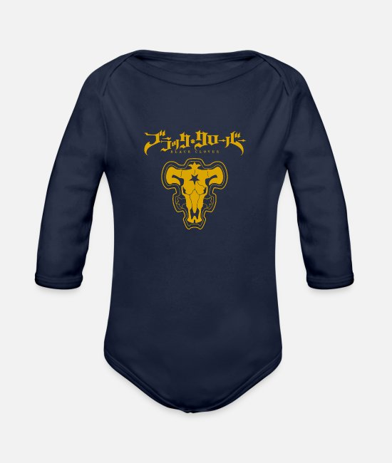 Asta Baby One Pieces - Black Clover Black Bulls - Organic Long-Sleeved Baby Bodysuit dark navy