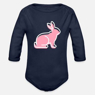 Mammal mammalian A Sitting Rabbit - Organic Long-Sleeved Baby Bodysuit